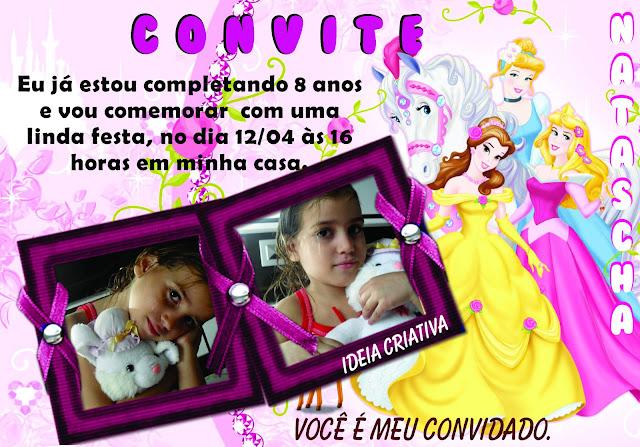 Convite de aniversário para meninas com princesas Disney