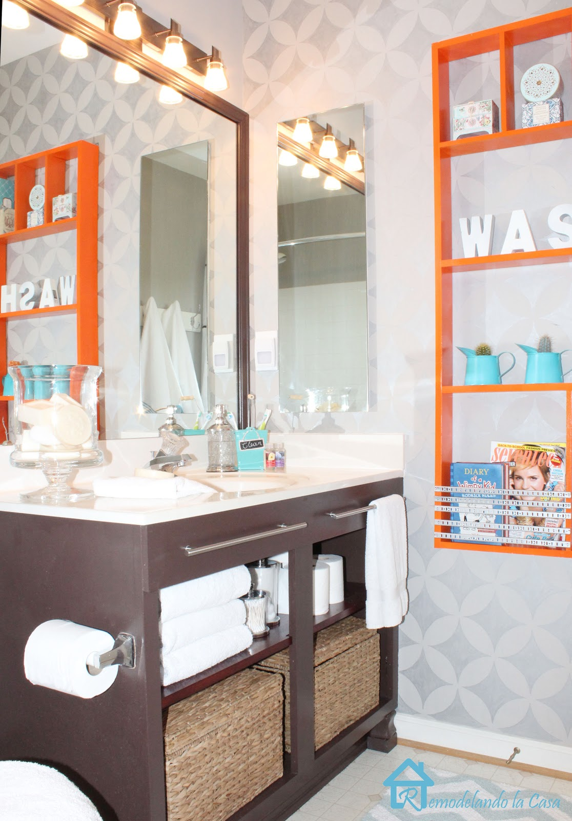 Teal and brown bathroom 28 images bathroom teal and for Blue and orange bathroom