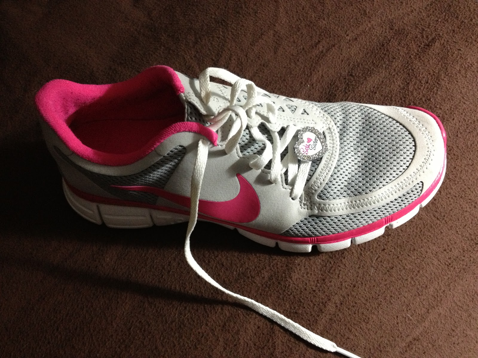 It may be hard to see but it is a sneaker charm from BeeCausecharms.com. It  says Sole Sister. I decided to give my Nike Free shoes a whirl for my  pacing ...