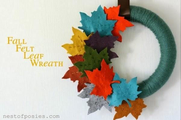 Fall Felt and Yarn Wreath - 8 Great Fall Felt Crafts! www.twenty8divine.com