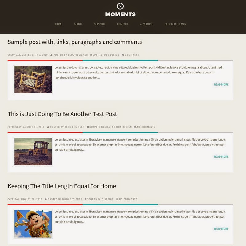 Moments free responsive blogger template