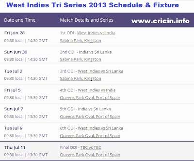 Tri series Cup 2013, Schedule and streaming live tv