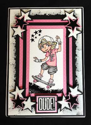 visible image stamps - skater boy character - grunge edge stamp