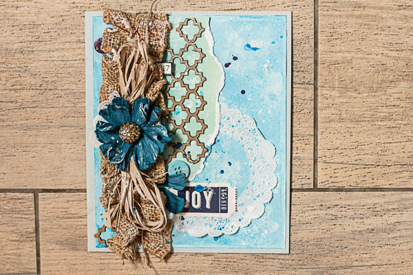 Water stamps card tutorial by Maria Potapovich using BoBunny Altitude collection and Leaky Shed Chipboard