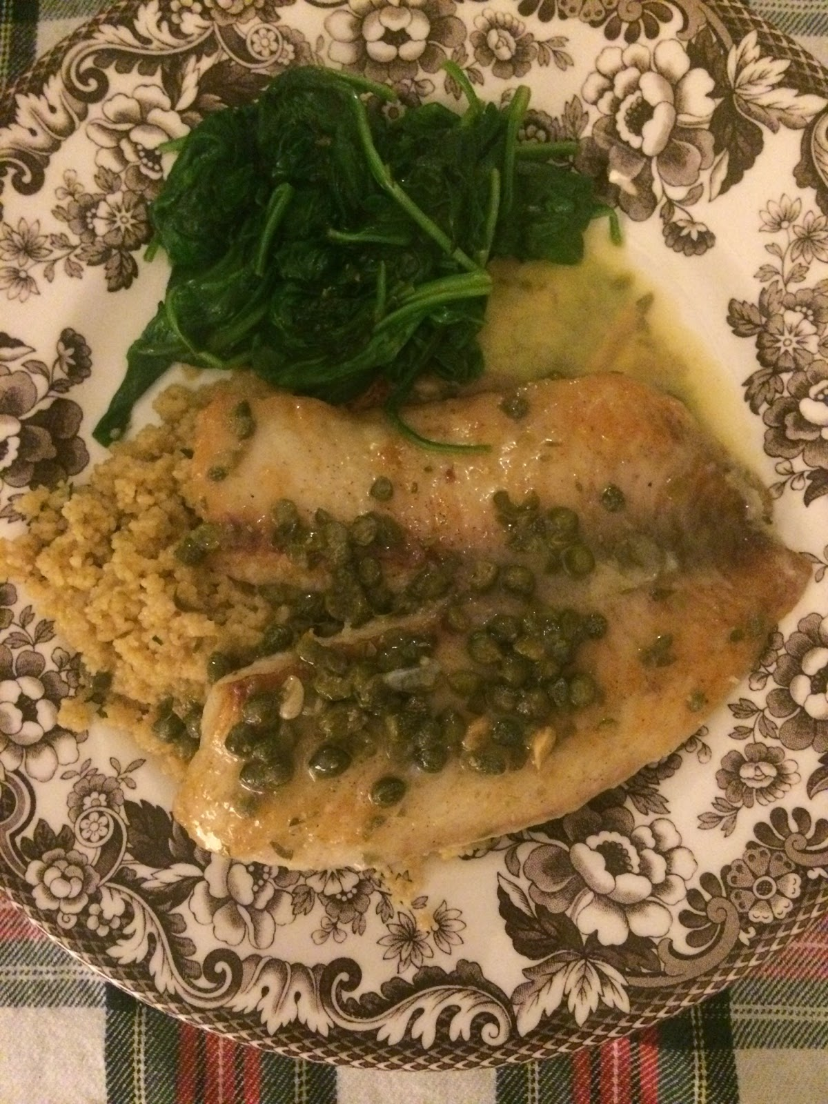 Flounder Piccata with Spinach ( Cooking Light March 2008)