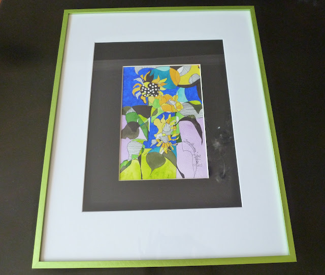 Framed flower watercolor