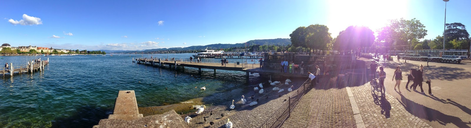 panaromic view of lake zurich