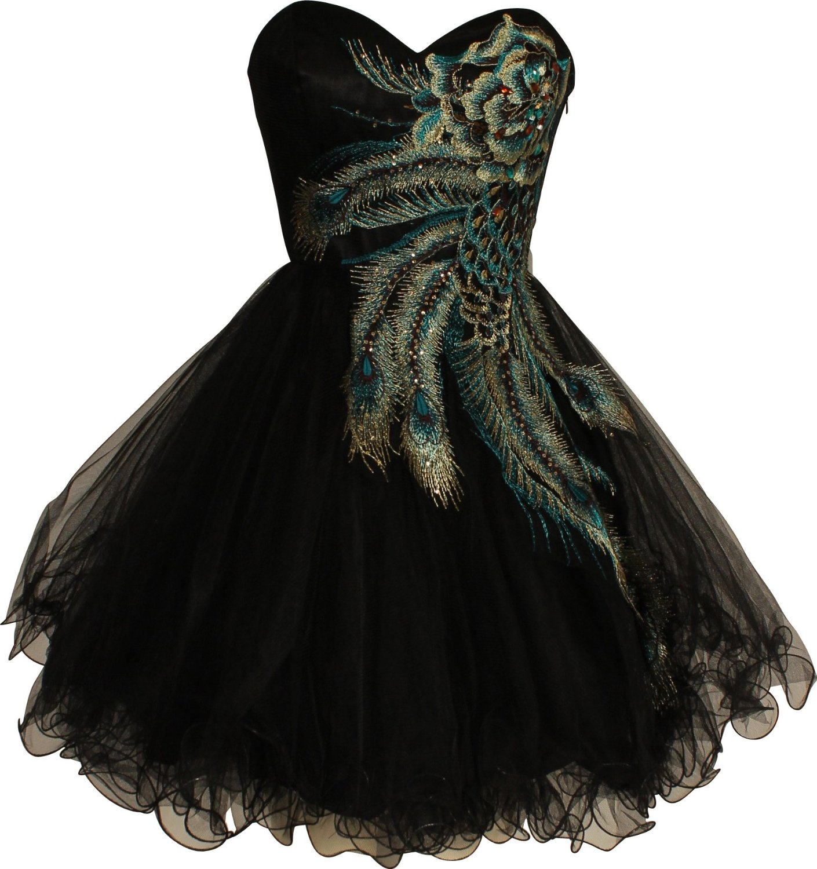 black short peacock prom dresses unique and cheap