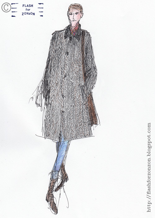 Illustrated Streetstyle Helsinki, Herringbone Tweed Coat.