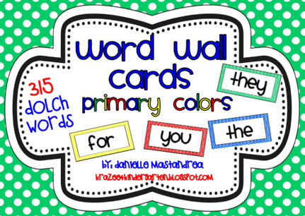 https://www.teacherspayteachers.com/Product/Dolch-Sight-Words-Word-Wall-Cards-in-Primary-Colors-315-Words-708086