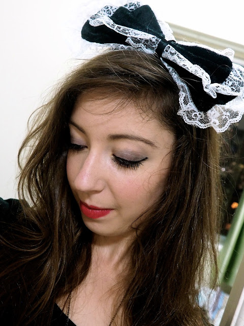 Fright Nights | maid fancy dress outfit detail of black & white frilled bow headband
