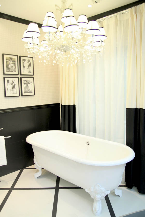 In addition to that fab clawfoot tub  I really love the painted  quot wainscoting quot  look and that the trim is painted black. P S  I love this     Bathroom Remix