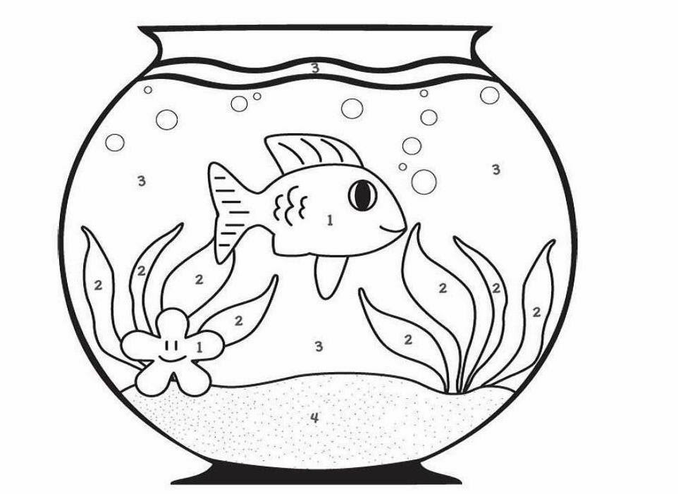 Colour Drawing Free Wallpaper: Fish Bowl Coloring Drawing Free ...