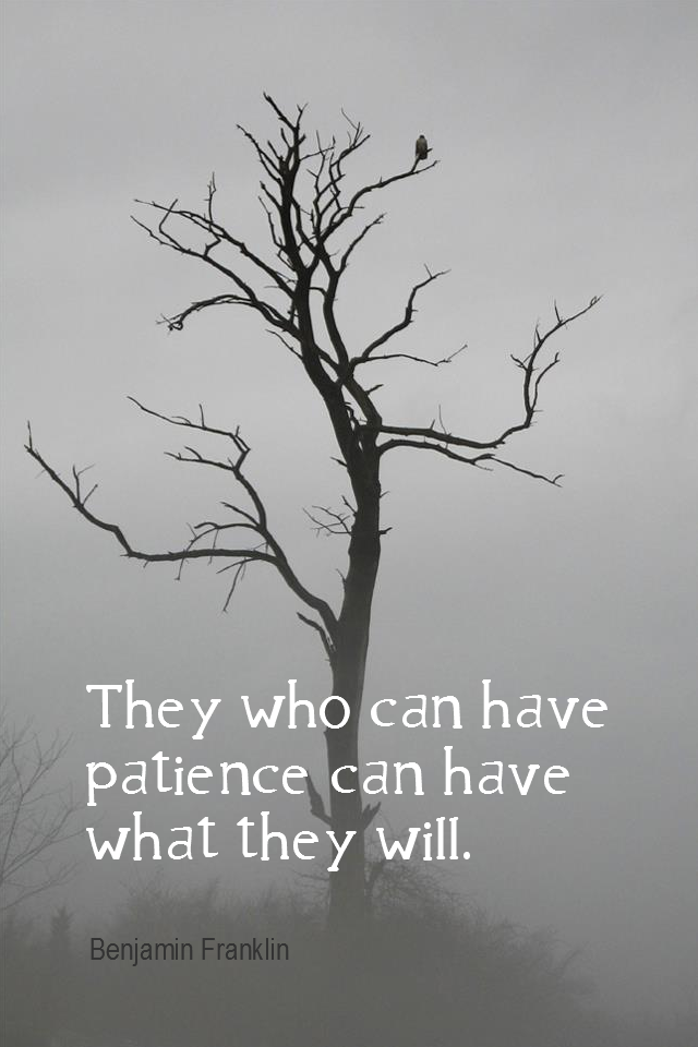 visual quote - image quotation for Patience - They who can have patience can have what they will. - Benjamin Franklin