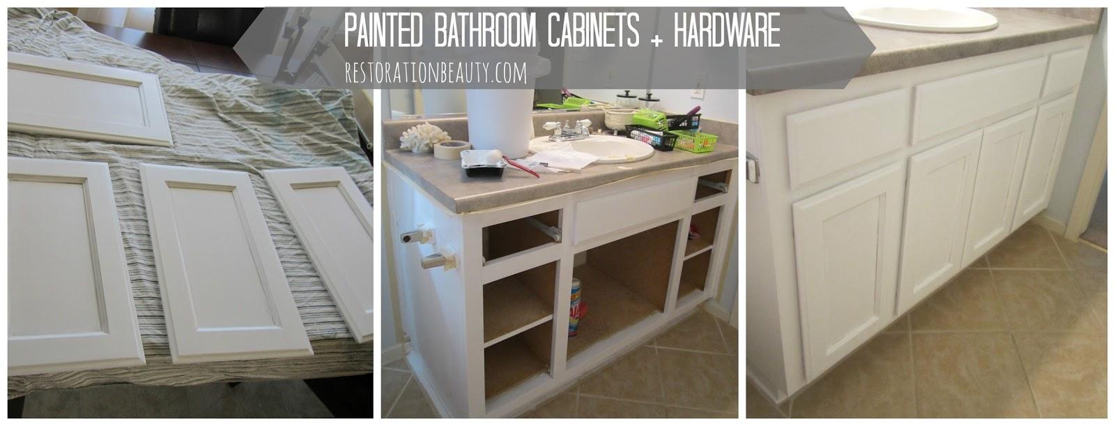 Restoration Beauty: Painted Bathroom Cabinets + Hardware
