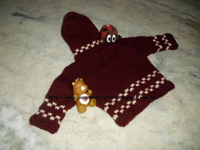 Costas casaquinho de bebê em tricô
