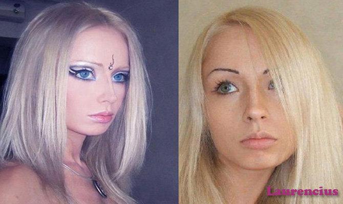 Tampilan Lukyanova dengan mata besar dan bening biru seperti kaca ...