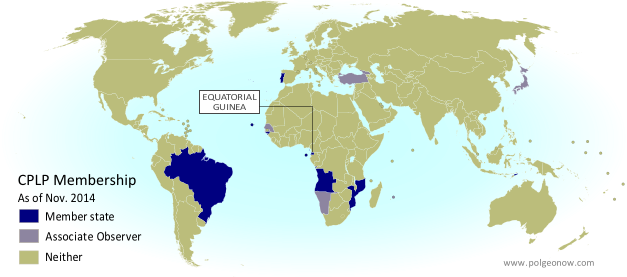 Map of the Community of Portuguese Language Countries (CPLP), including both member states and associated observers. Updated for the July 2014 summit, which admitted new member Equatorial Guinea and new associate observers Georgia, Japan, Namibia, and Turkey (colorblind accessible).