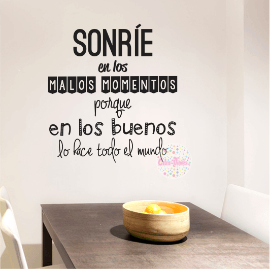 Vinilo decorativo pared frase sonr e w94 cdm vinilos - Vinilo de pared ...