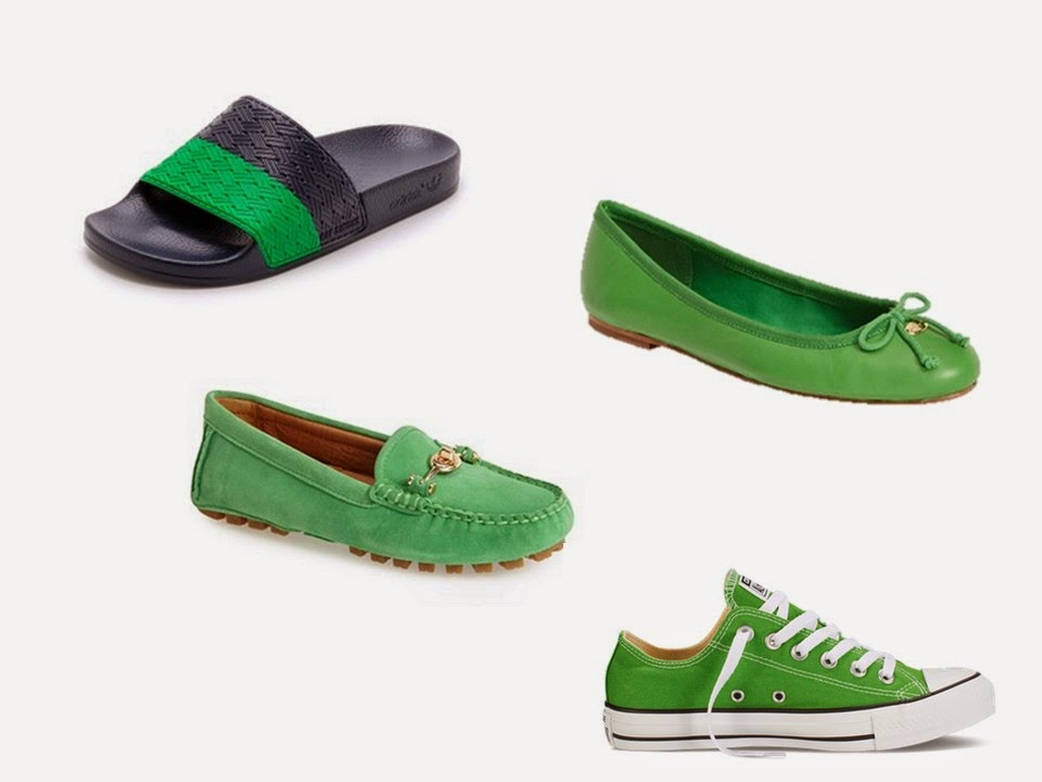 green shoes: sandals, driving mocs, ballet flats and sneakers