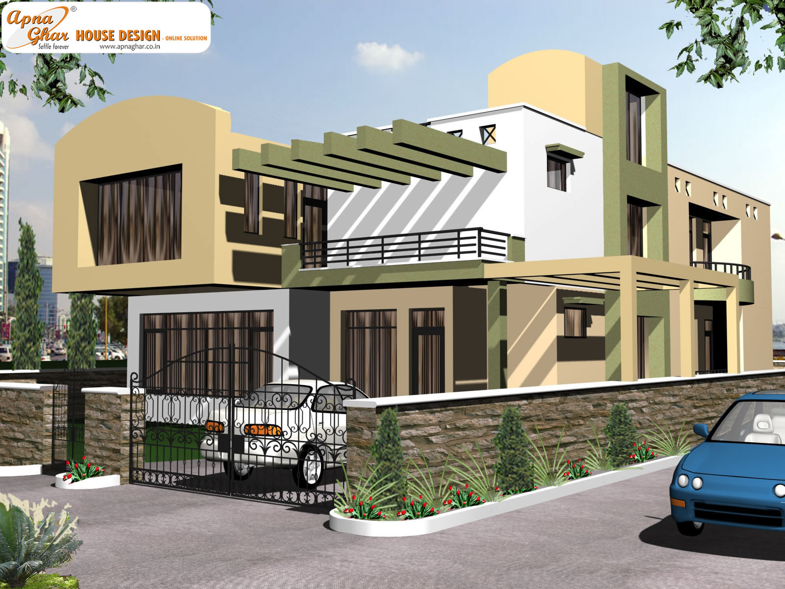 Front elevation house 2013 duplex bungalow house joy for Duplex house front elevation pictures