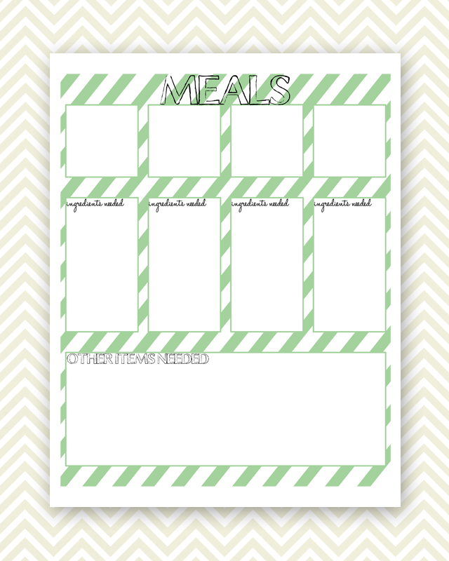 Three in Three: Meal Planner Printable