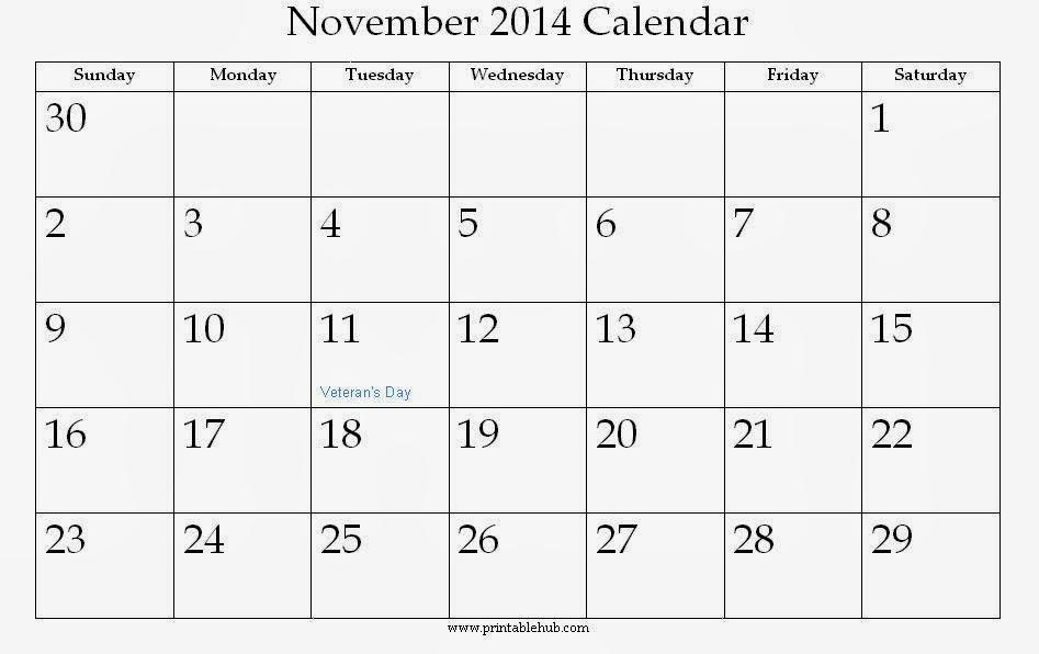 Blank November 2014 Calendar Printable Template Printable Calendar