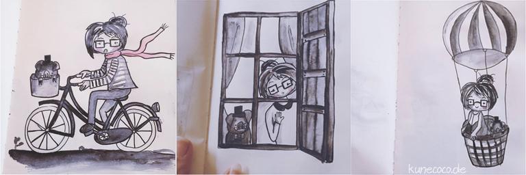 KuneCoco • Inktober Teil 2 • Fahrrad, Fenster, Heißluftballon