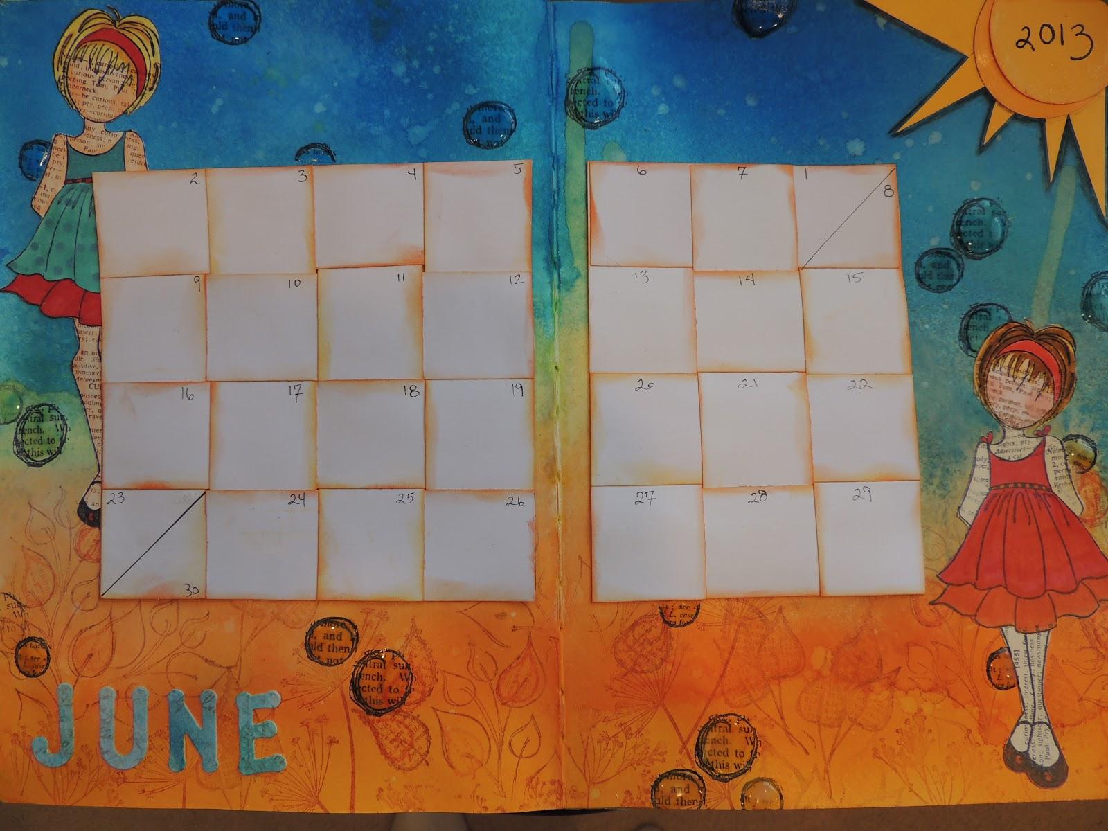 Art Journal Calendar Pages : Bolton house art journal calendar class for june