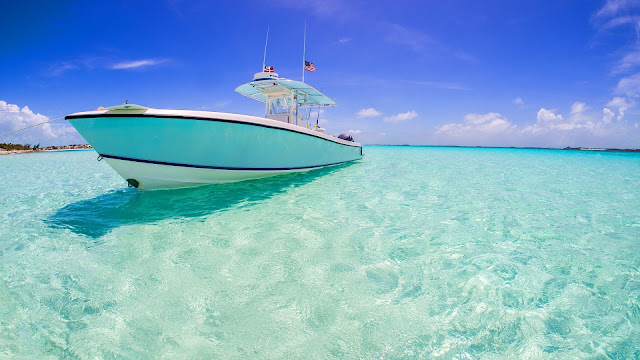 Blue water carribean bahamas HD Wallpaper