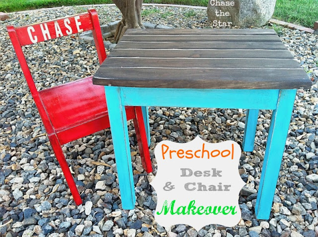School Desk and Chair Makeover via Chase the Star #school, #Desk, #Chair, #Schooldesk, #turquoise,#red, #craigslist #homeschool