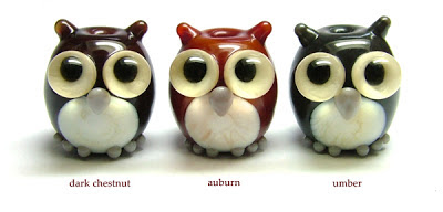 Lampwork glass owl beads