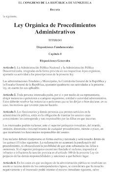 Ley Orgánica de Procedimientos Administrativos (LOPA)