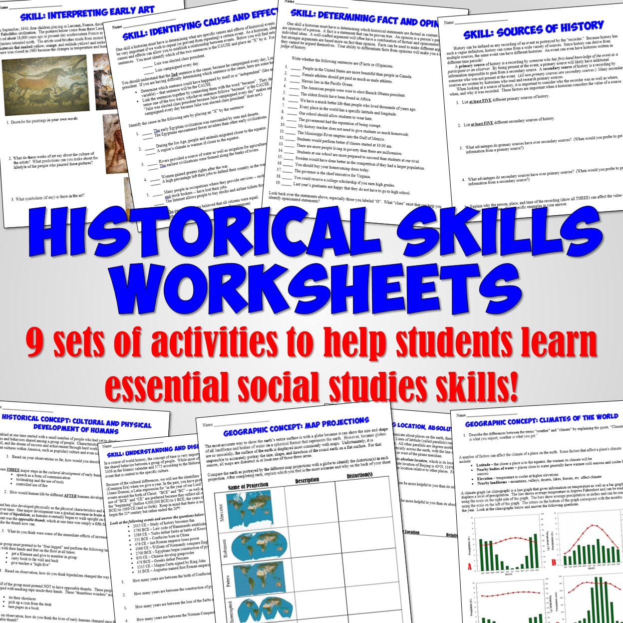 Students Of History Back To School Historical Skills Activities And