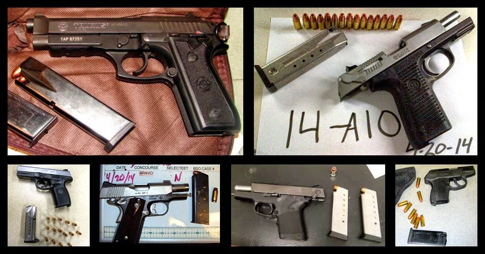 Left to Right / Top to Bottom: Guns Discovered at MFE, GRR, CLT, FLL, SDF, IND