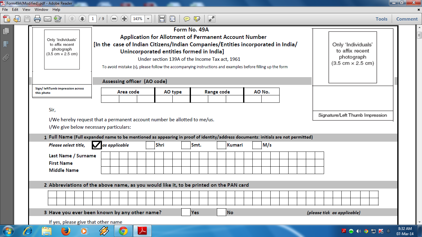 New amended automated pan card application form 49a revised version