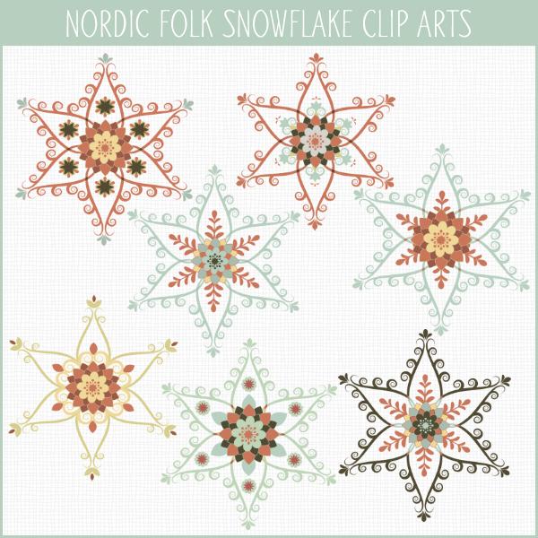 Nordic Snowflakes clip arts
