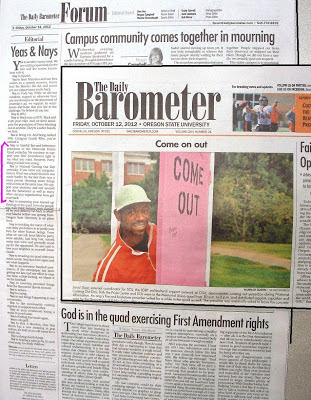 OSU national Coming Out Day 2012 on front page of Barometer, Oct. 12, 2012