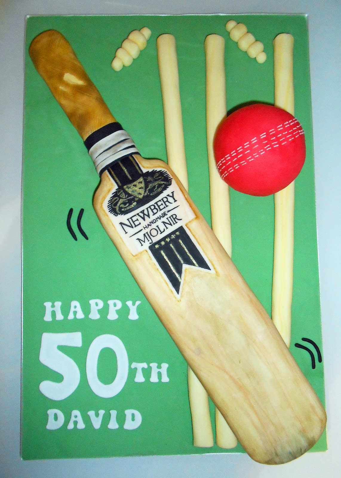 Cricket Bat Cake Images : The Coloured Bubble Cakery: Cricket Bat Cake