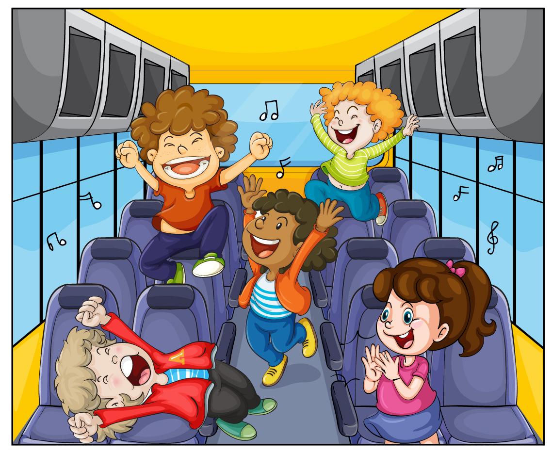 スクールバスで歌を楽しむ子供達 children joyful musical notes イラスト素材