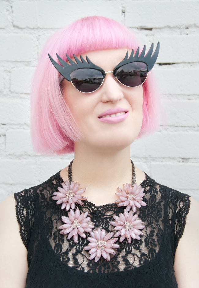 Pink hair, happiness boutique, tatty devine sunglasses