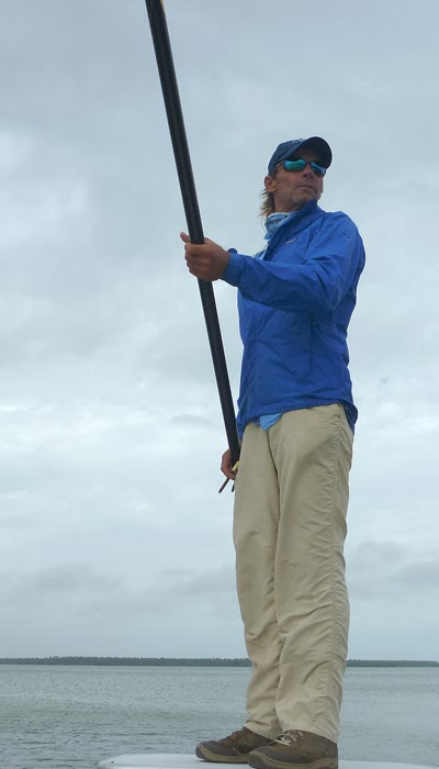 "Bonefish guide Marty ""Crocodile Dundee"" on the Marls, Abaco, the Bahamas"