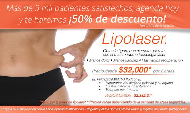 Promocion oferta cirugia plastica lipolaser liposuccion laser en guadalajara mexico