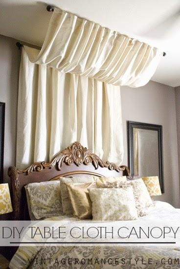 Diy No Sew Table Cloth Bed Canopy Tutorial Vintage