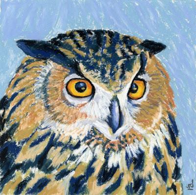 tawny owl pastel painting