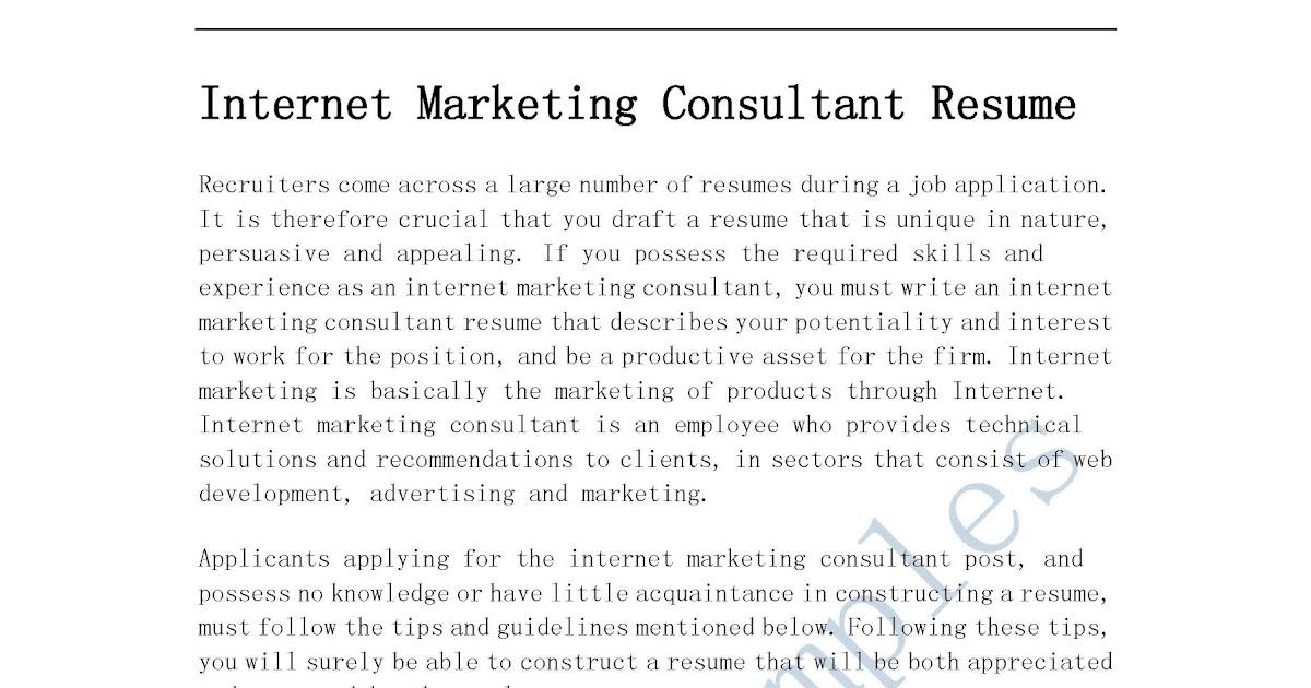 resume samples  internet marketing consultant resume