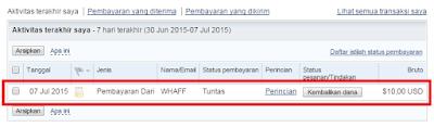 Bukti Pembayaran WHAFF via RekeningPaypal