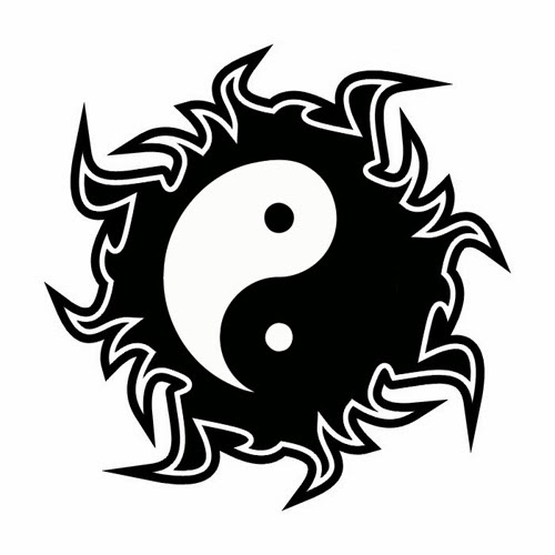 Yin Yang sun tattoo stencil