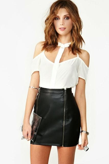 White Shortcut Chiffon Blouse With Black Leather Short
