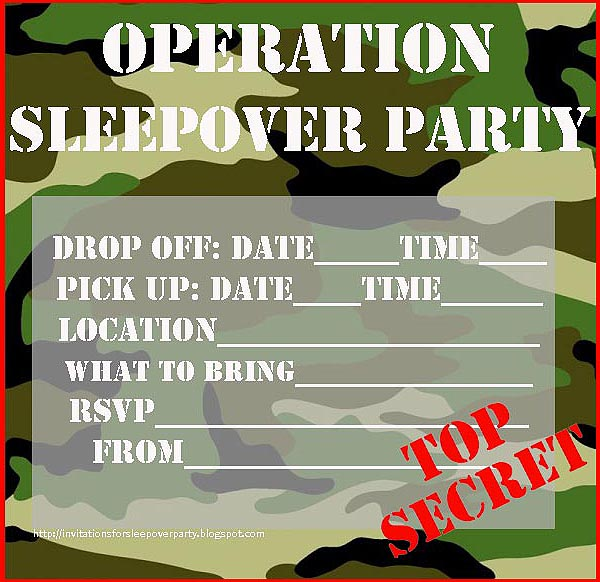 INVITATIONS FOR SLEEPOVER PARTY – Boy Party Invitations